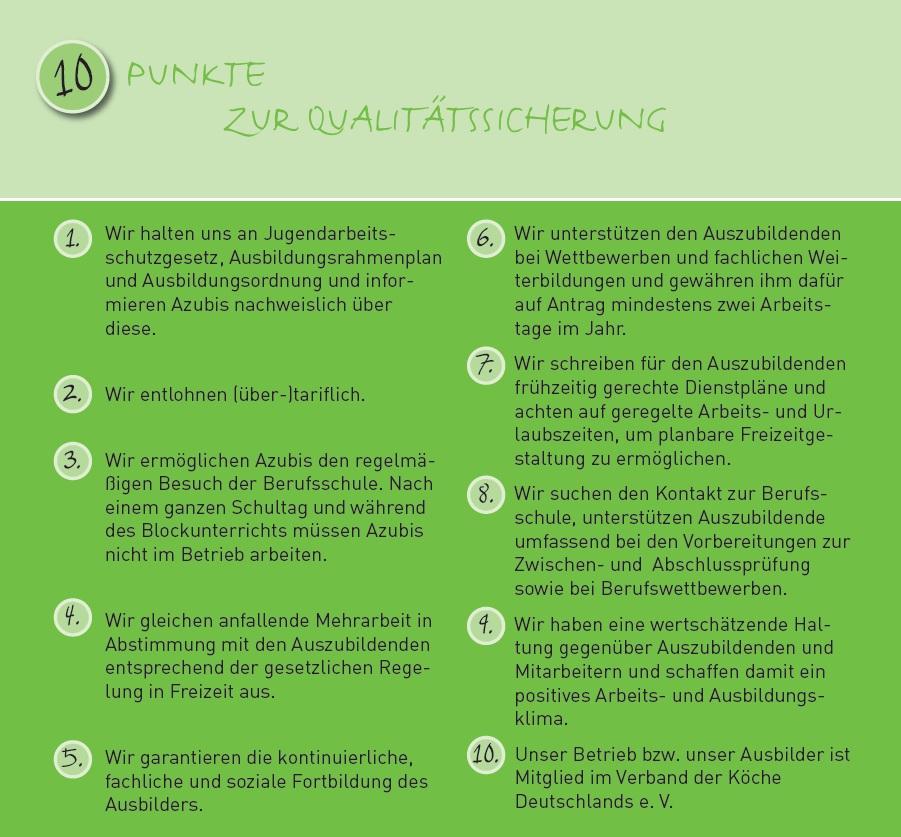 Wer Qualifizierter Ausbildungsbetrieb werden möchte, muss den 10-Punkte-Plan des VKD erfüllen.