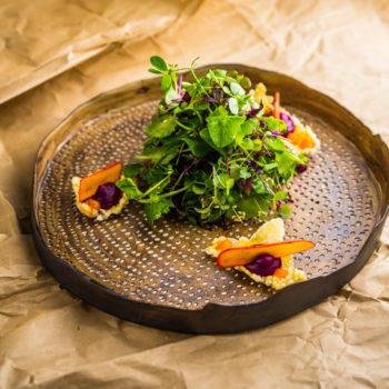 Marcel Thiele von Koppert Cress präsentiert seine kulinarischen Kreationen. Foto: Michael Gunz