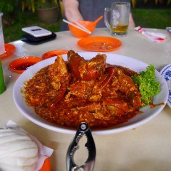 ...so sieht die Chili Crab von Nahem aus. Foto: Privat