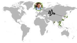 10 asiatische Länder besuchte Bruno.
