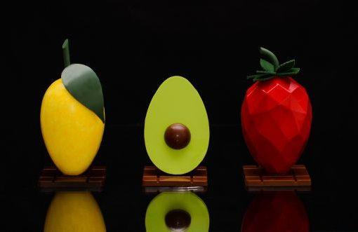 Moderne Oster-Design, Schokoladenfrüchte und Dekor
