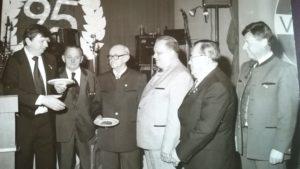 Gründungsmitglieder bei der 25-Jahr-Feier (v. l. n. r.) Vorst. H. Kröncke,W. Gotthold, H. Marx, L. Hutter, O. Fischer und A. Amling Foto: Archiv