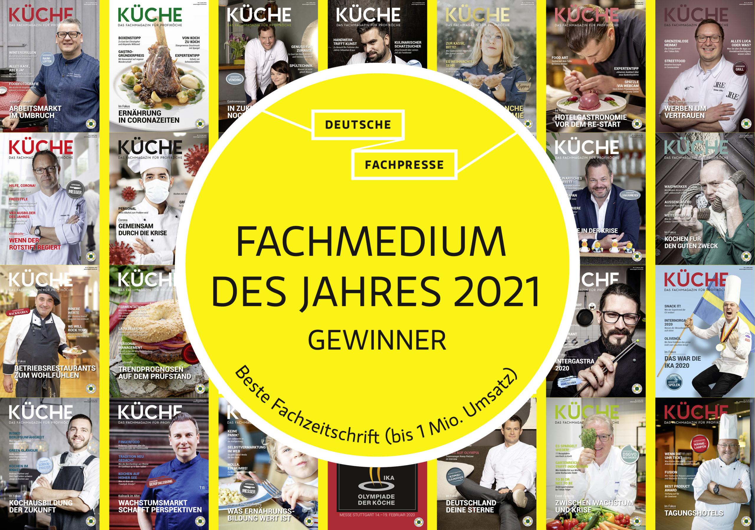 """KÜCHE – Fachmagazin für Profiköche – wurde als """"Fachmedium des Jahres 2021"""" in der Kategorie """"Beste Fachzeitschrift (bis 1 Mio. Umsatz)"""" ausgezeichnet. Foto: KÜCHE"""