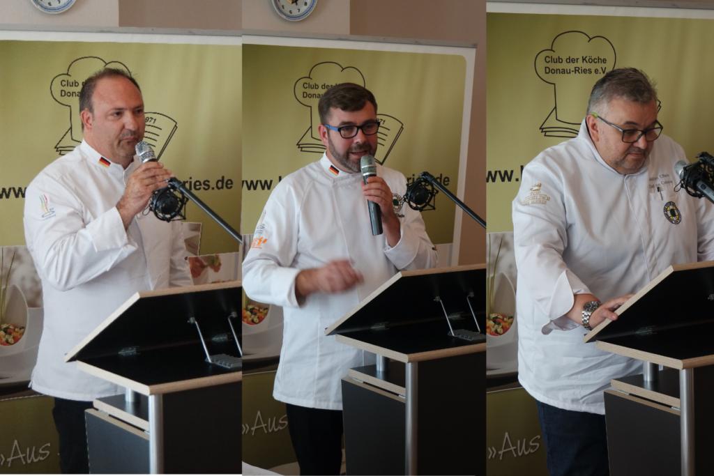 Die Präsidiumskandidaten Ralf B. Meneghini (links),Daniel Schade (Mitte) sowie Joachim Elflein stellen sich den Anwesenden persönlich vor. Foto: Uli Großmann